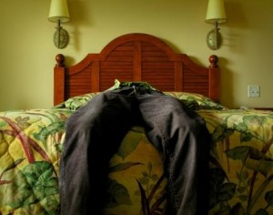 exhausted or depressed lying in bed