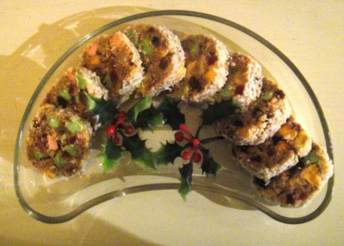 Picture of a plate of yummy, easy holiday fridge cookies