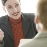 Woman Talking During Job Interview