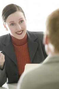 Woman Talking During Job Interview