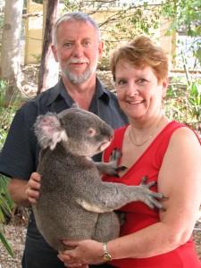 Patricia Morgan with husband and Koala