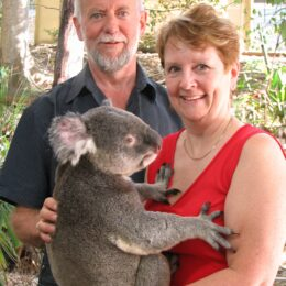 Patricia Morgan with husband and Koala