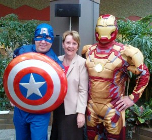 Patricia with Super Heros