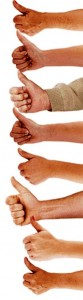 Picture of multiple hands with thumbs up - an upbeat attitude helps when job searching