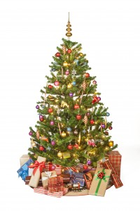 Picture of a Christmas tree with presents underneath it