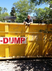 Les Morgan in Calgary flooding dumpster