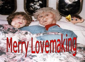 Picture of man and woman mannequins in bed together - is your relationship full of merry lovemaking?