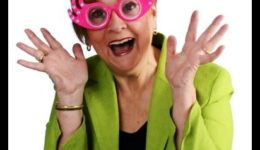 """Patricia Morgan wearing silly glasses; her personal sense of humor style is """"cornball"""""""