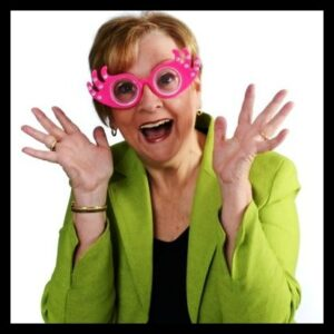 "Patricia Morgan wearing silly glasses - her personal sense of humor style is ""cornball"""