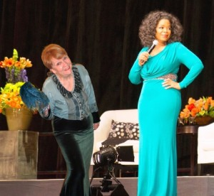 Picture of Oprah Winfrey and Patricia Morgan on stage together. Who do you draw your journaling inspiration from...