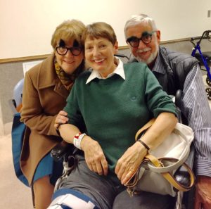 Patricia and Les wear Groucho Marx glasses to visit friend Judy