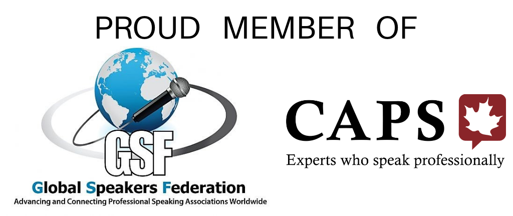 logos for Global Speakers Federation and Canadian Association of Professional Speakers
