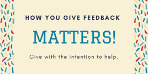 Giving feedback matters