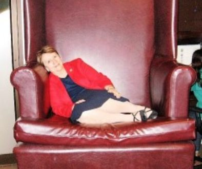 Patricia on big chair