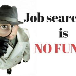 Picture of a private detective holding a magnifying glass. Job searching is no fun!