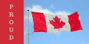 Image of Canadian flag flapping in the wind with the word PROUD on the left