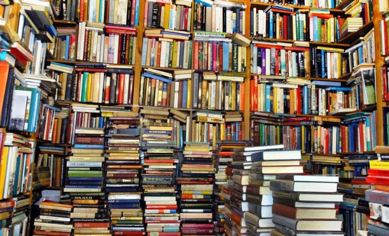 Image of book shelves, book stacks - what is your favorite book title?