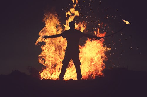 fire with man in stress